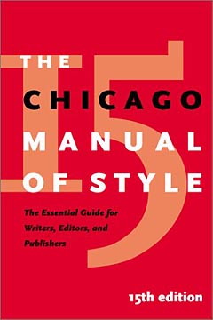 The Chicago Manual of Style, 15th edition: jacket image